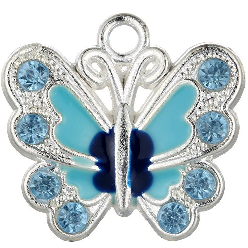 RUBYCA Silver Plated Small Butterfly Enamel Charm Beads Pendants for Jewelry Making DIY 14pcs Blue