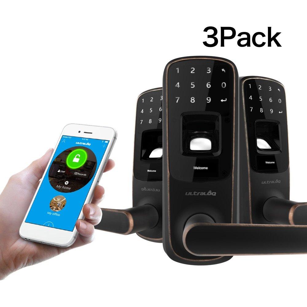 3 PACK Ultraloq UL3 BT Bluetooth Enabled Fingerprint and Touchscreen Smart Lock (Aged Bronze) by ULTRALOQ