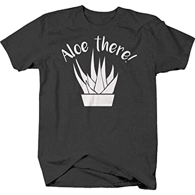 Aloe There! Silhouette Funny Hello Plant Succulent Cute T Shirt for Men: Clothing