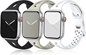 Ouwegaga Compatible with Apple Watch Band 40mm 38mm iWatch SE & Series 6 5 4 3 2 1 for Women Men, Soft Silicone Silm Sport Breathable Replacement Strap for Apple Watch Bands, Black White Gray