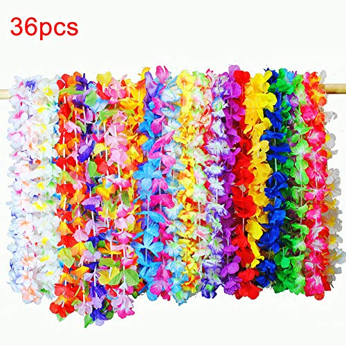 yuguEnviprot Home Natural Decor,36Pcs Hawaiian Leis Hula Faux Flower Dress Garland Necklaces Festival Decor - - Leis Orchid