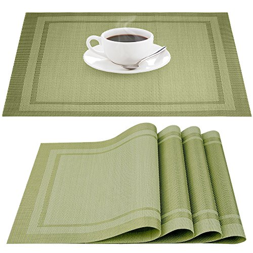 Placemats, Heat-resistant Non-slip Stain-resistant Washable PVC Place Mats, IHUIXINHE Woven Vinyl Double Border Table Mat, Set of 4 (Green)