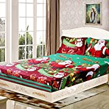 Decdeal 4pcs Merry Christmas Gift 3D Printed Bedding Set Fitted Bed Sheet + 2pcs Pillowcase + Bed Sheet Set Christmas Bedroom Decorations Twin/Queen/King Size