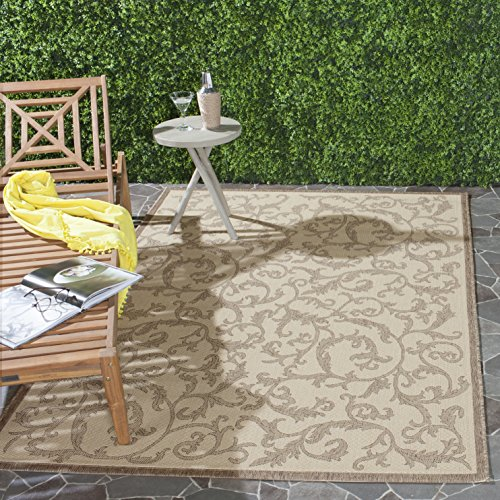 Safavieh Courtyard Collection CY2653-3001 Natural and Brown Indoor/Outdoor Area Rug (9' x 12')