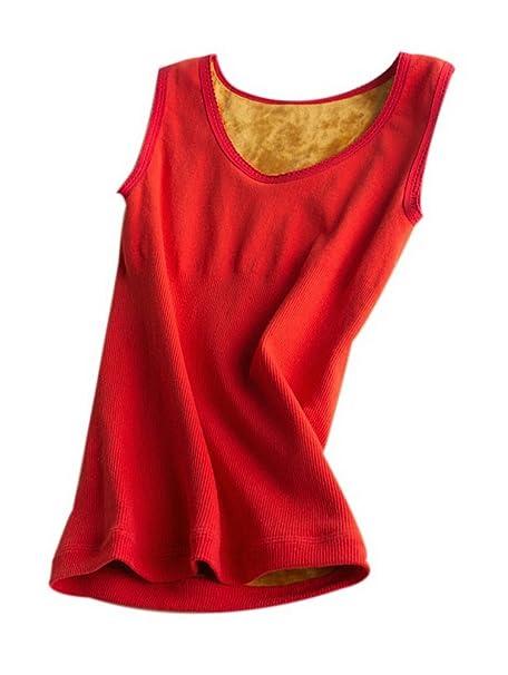 Winter Thicken Plus Velvet Warm Chaleco Ropa interior de algodón Medias Chaleco de cuello redondo Rojo