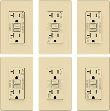 20Amp GFCI Receptacle Outlet w// LED /& Wallplate UL  Ivory Gfi 20 Amp 10PACK