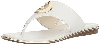 Anne Klein Women's Gia Leather Flip-Flop, Yellow, 6.5 M US