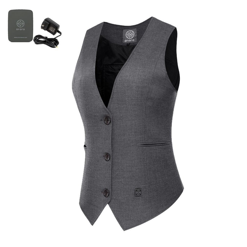 ororo Women's Heated Vest Slim Fit V-Neck Waistcoat With Battery Pack(M)