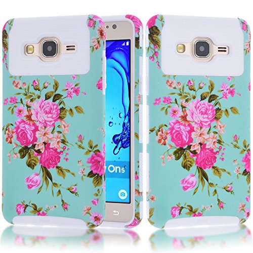 Galaxy On5 Case,Kmall Slim Fit Durable Heavy Duty Hybrid Dual Layer Hard+Soft Full-Body Shockproof Protective Cover Skin Shell Bumper Flower Floral Pattern For Samsung Galaxy On5 / G550 [White]