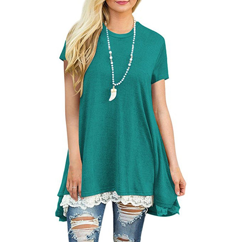Women's Short Sleeve Tops,Lace Trim Scoop Neck A-line Tunic Swing Mini Dress Great Gift for Easter Mother's Day Costume (Green, 2XL)