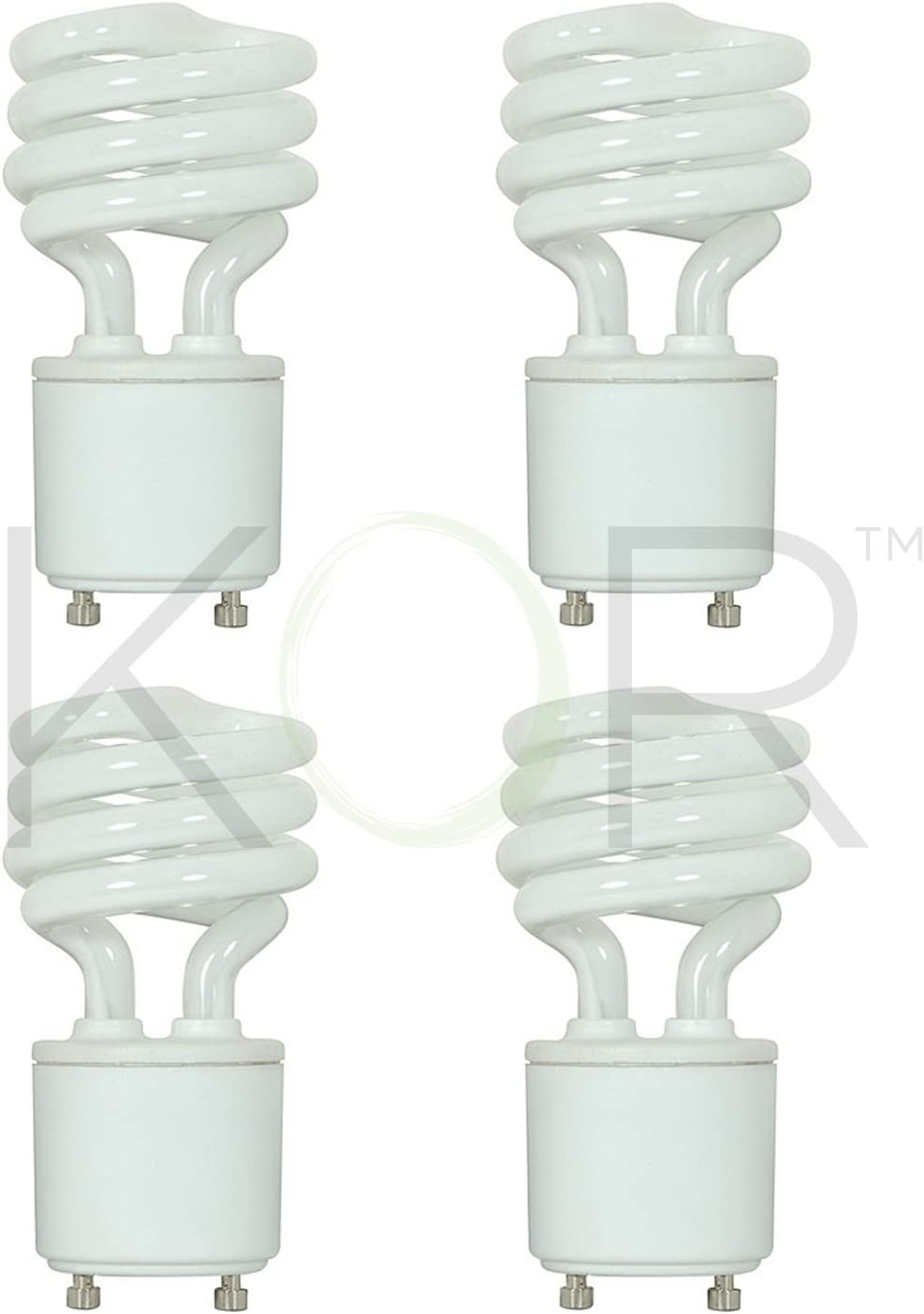 (4 Pack) 13 Watt Mini Spiral - GU24 Base - (60W Equivalent) - T2 Mini-Twist - CFL Light Bulb (Cool White (4100K), CFL)