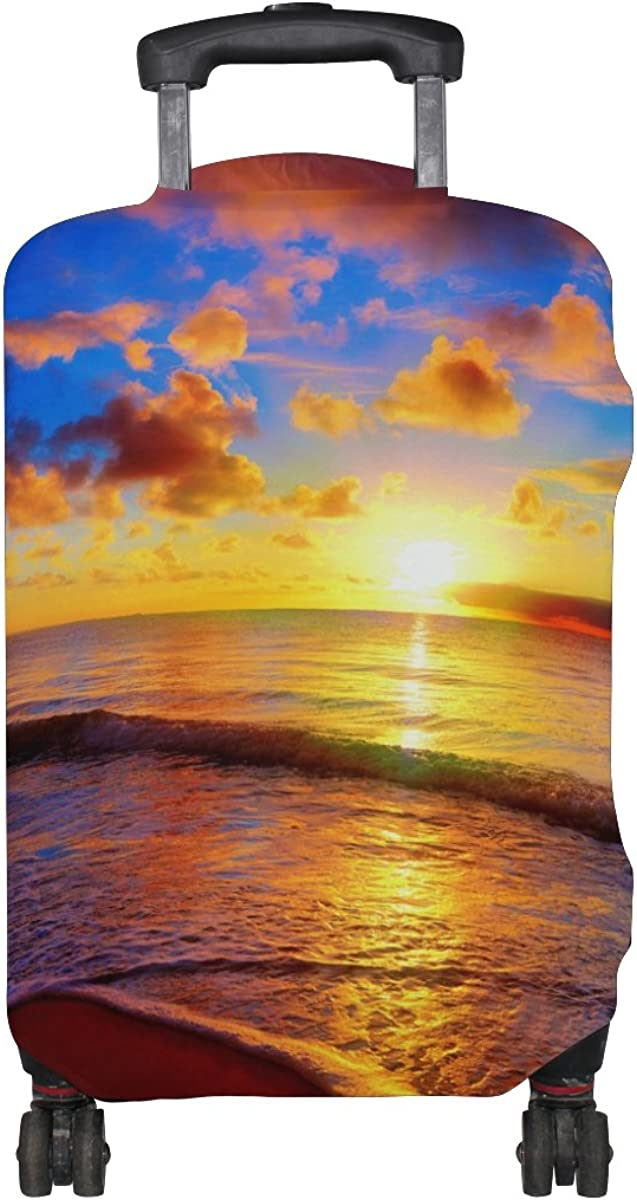 Beach And Sunset View Luggage Cover Travel Suitcase Protector Fits 18-21 Inch Luggage