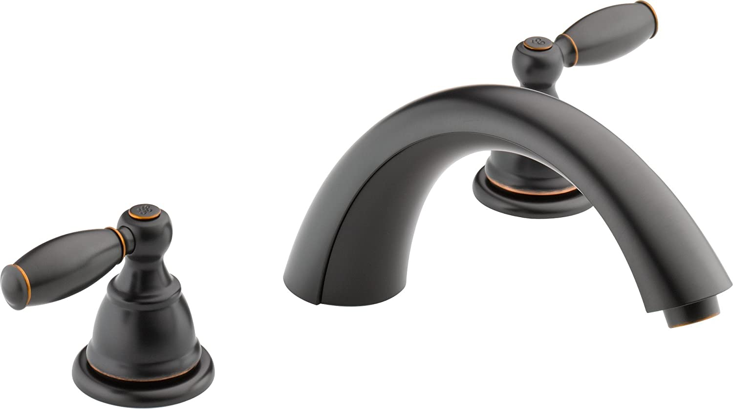 Valve Not Included Peerless Tunbridge 2-Handle Widespread Roman Tub Faucet Trim Kit Delta Faucet Oil-Rubbed Bronze PTT298510-OB