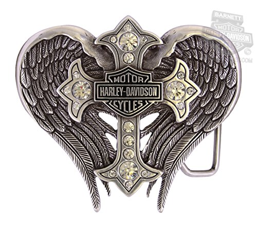 Harley-Davidson Womens B&S with Winged Cross Embellished Buckle Cross Shield Belt Buckle