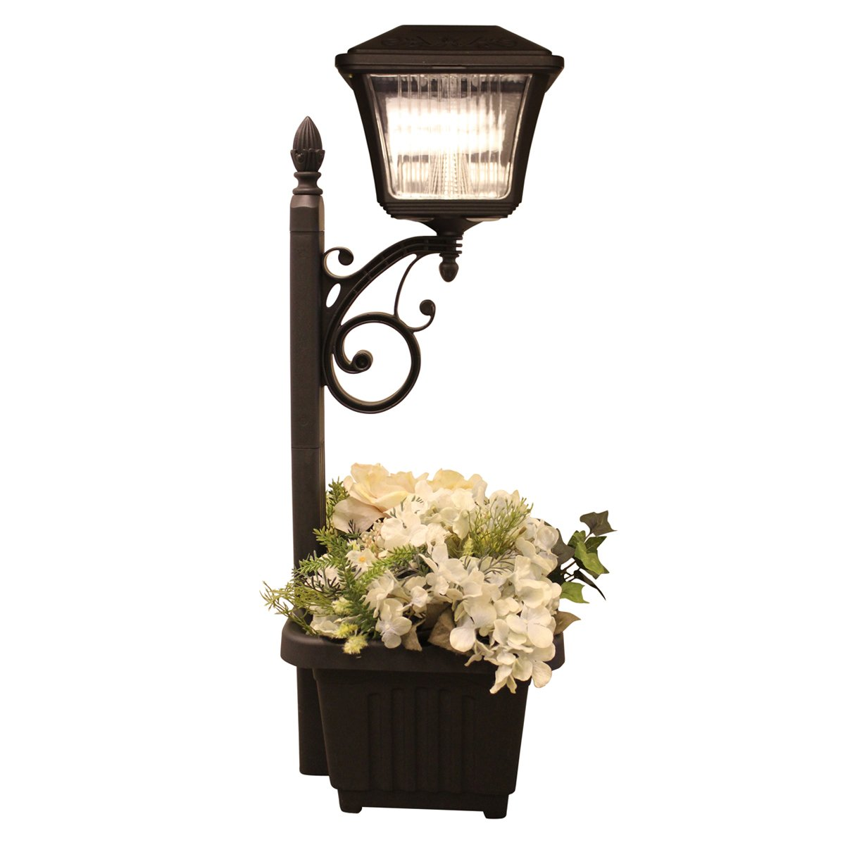 Gama Sonic GS-111 Pathway Planter or Stake Outdoor Solar Accent Walkway or Step Light, Bright White LED, Black