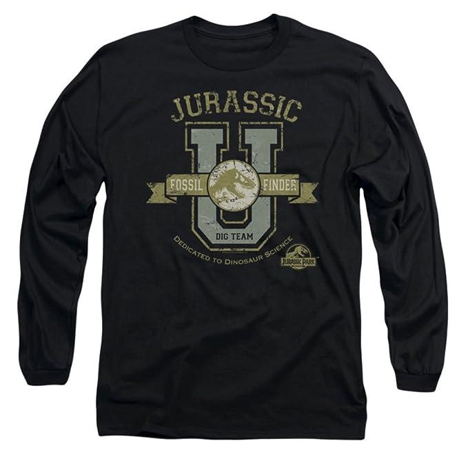 Jurassic Park Camiseta - Camiseta Gráfica - Manga Larga - Opaco - para Hombre Negro Negro