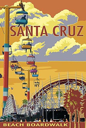 - Santa Cruz, California - Beach Boardwalk (12x18 Art Print, Wall Decor Travel Poster)