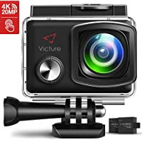 Victure 20MP WiFi Waterproof 4K Action Camera with Adjustable Wide Angle 2X1350mAh Rechargeable Battery and Mounting Accessories