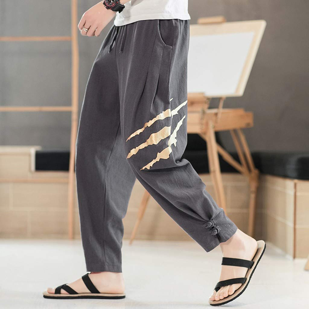 Allywit Men's Printed Claw Graphic Baggy Harem Capri Loose Fit Linen Pants with Pockets Big and Tall Dark Gray by Allywit-Pants (Image #4)