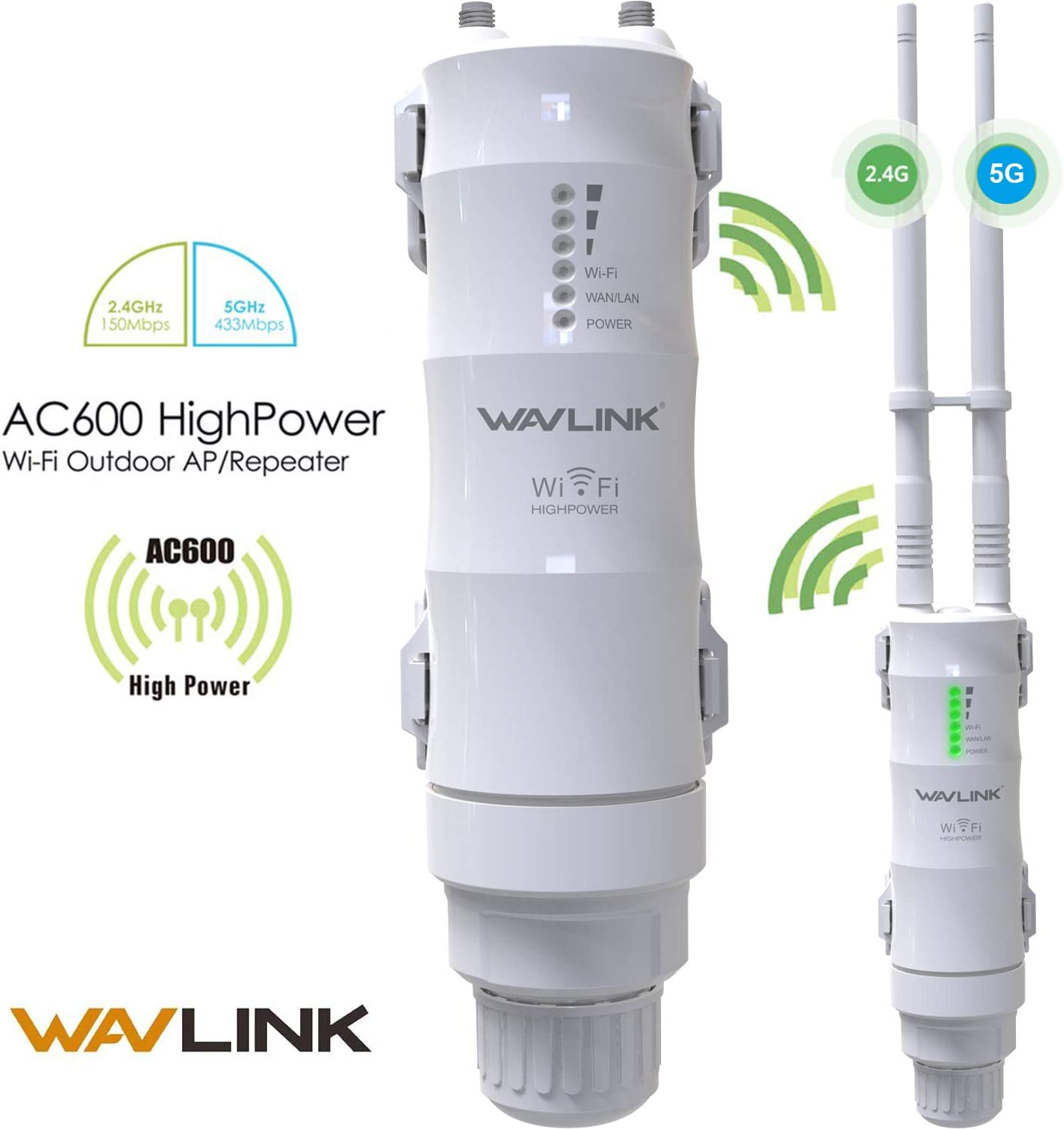 【Upgrade Version】 Wavlink-Wn570Ha1-Ac600 Access Point Dual Band 2.4+5G 600Mbps 3 bei 1 Outdoor Wireless Ap/Router/Repeater Wifi Blast Range Extender Internet Signal Booster Amplifier bei Poe & 802.11Ac