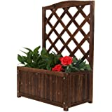 Wood Planter Raised Beds with Trellis, 34 Inch Height Free-Standing Planters for Garden or Yard- Fast and Easy to…