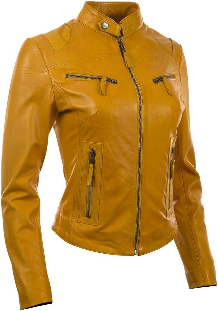 Aviatrix Giacca da Moto Molto alla Moda in Vera Pelle Super Soft Donna CRD9