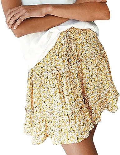 Jkfine Cintura Alta Faldas Mujer Cortas Verano 2019 de Doblar ...