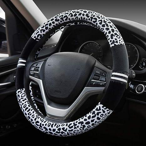 Honcenmax Prämie Plüsch Weich Fahrzeug Lenkradabdeckung Bequem Winter Auto Lenkradschutz Universal Durchmesser 38cm 15 Leopard Druck Auto