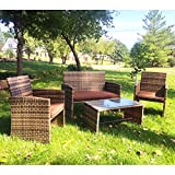 Ecolinear 4pc Rattan Sofa Cushion Seat Garden Patio Lawn Sectional Couch Wicker Furniture Set Outdoor PE Coffee