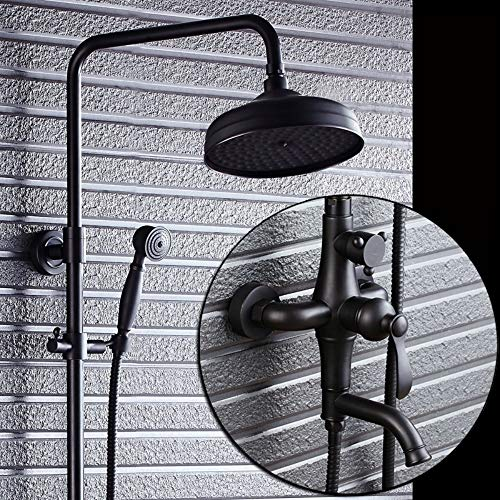 (XUEME All in one Non Thermostatic Shower System Slim Round Top Shower Head and Handheld Shower with Single Flow and Temperature Control Handle, Chrome)