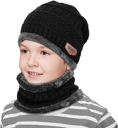 Niños Gorro Invierno con Bufanda tubular, Calentar Sombreros ...
