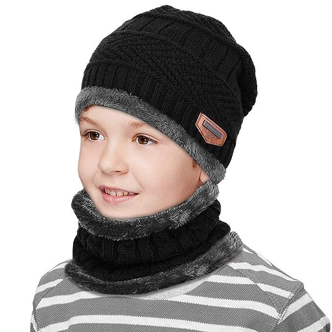 HZQDLN Niños Sombrero de invierno con Forro de Lana Sombrero Caliente de  Punto y Bufanda tubular 48cb1f559d9