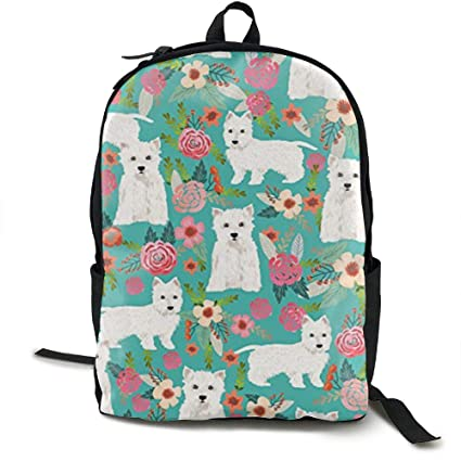 46e41b83d439 Amazon.com: LCQ Westie Florals Cute Dog School Bookbags Bags ...