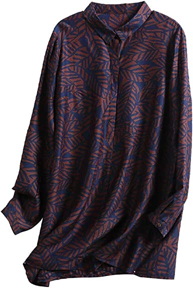DISSA S6552 - Blusa de seda para mujer con cuello de camisa ...