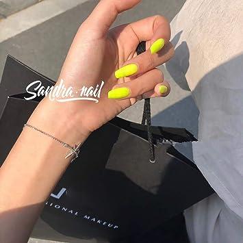 Uñas Postizas - Uñas Postizas Hechas A Mano -Amarillo Fluorescente ...