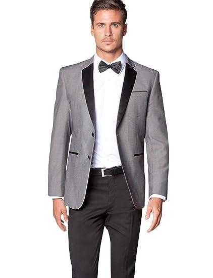 YZHEN Hombre Slim Fit 2 Pieza Trajes de Vestir Prom Groom Conjunto ...