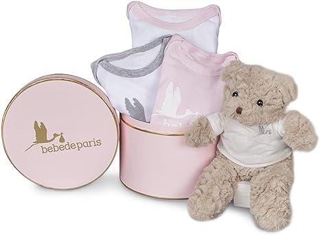 Canastilla regalo bebé en caja Happy con Bodies y osito de ...