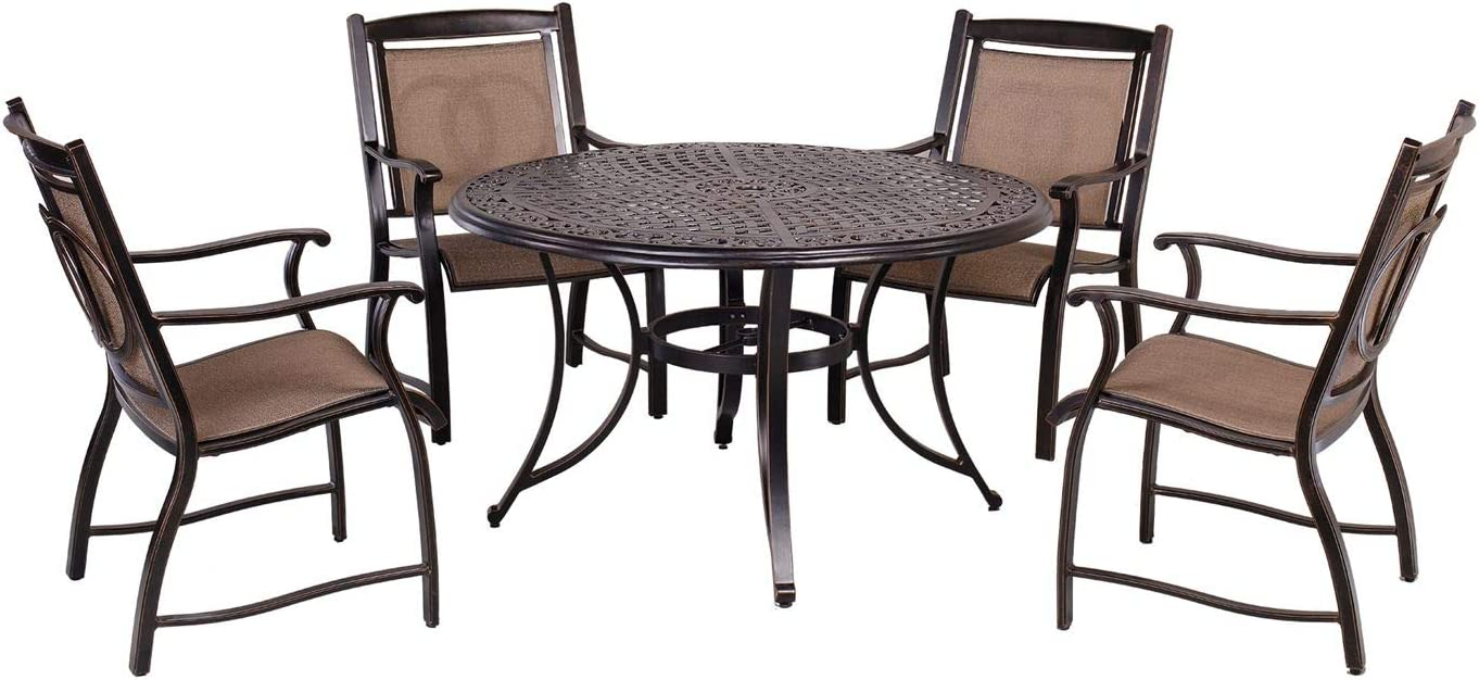 """CW Chair 5 Piece Dining Set Outdoor Patio Furniture with 42"""" Square Dining Table and 4 Patio Arm Chairs"""