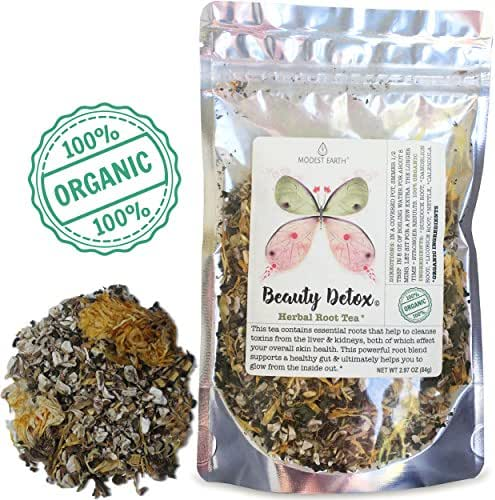 Modest Earth Beauty Detox Tea | 100% ORGANIC Glowing Skin Home Routine | Liver Cleansing & Detoxifying Aid | CLEAR ACNE, Natural Wrinkle Remedy | Anti aging Antioxidant Drink | 20+ SERVINGS (2.97 OZ)