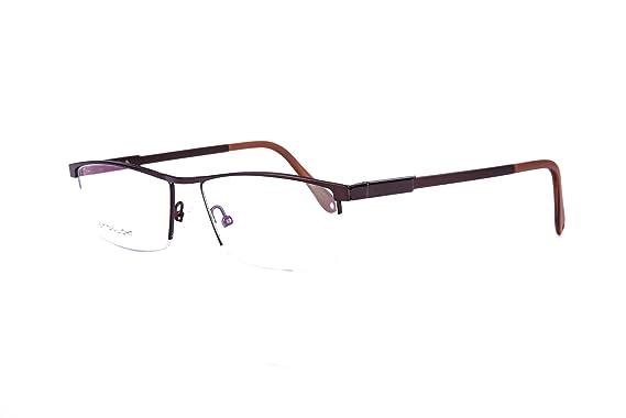 Amazon.com: New Designer Men\'s Half Rim Glasses Frame Spring Hinge ...