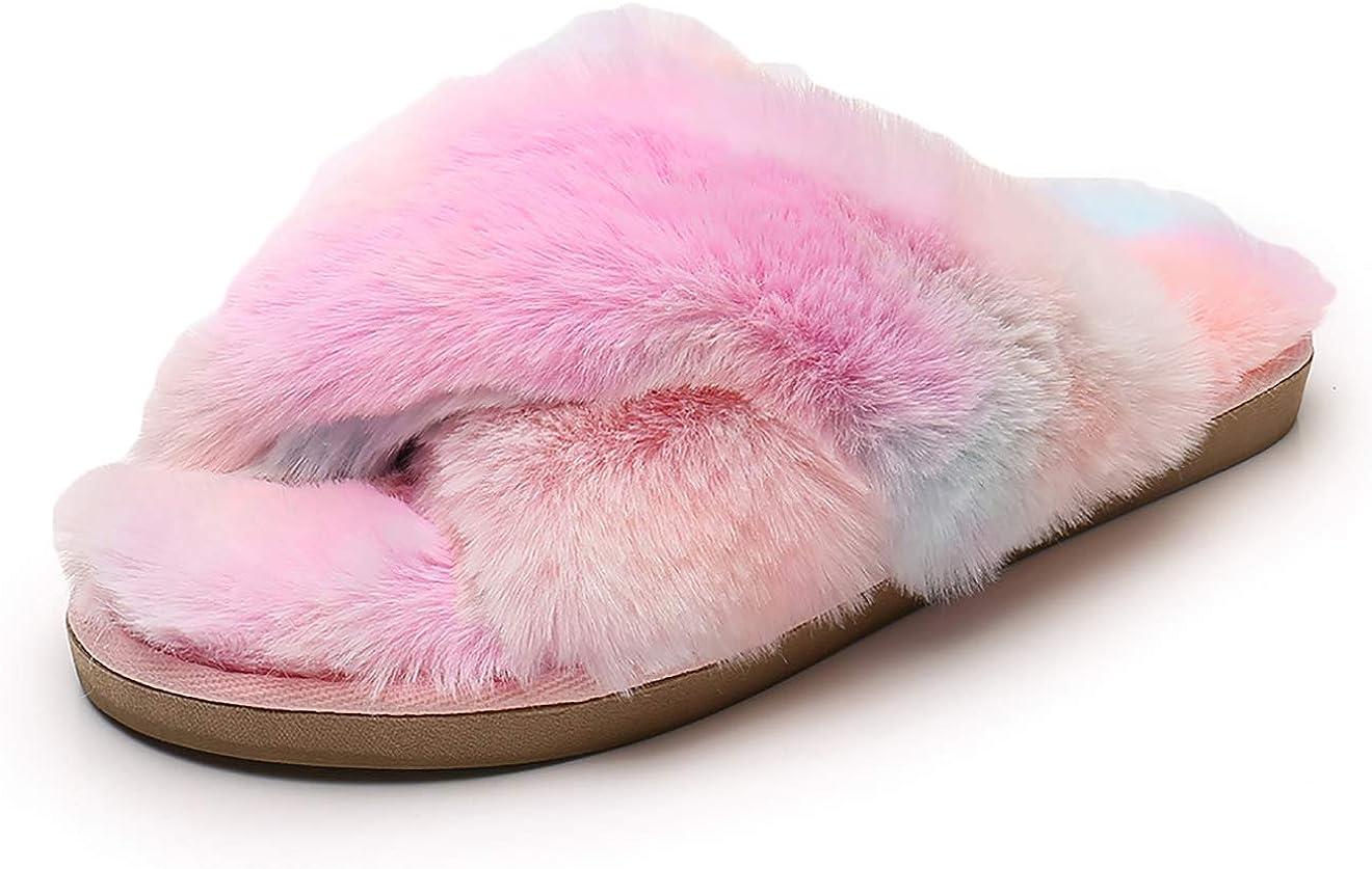 Real Fancy Fuzzy Slide Slippers for Women - Crossover Open Toe Memory Foam Fluffy Faux Fur House Slipper Indoor Outdoor