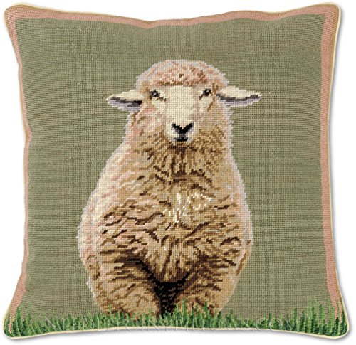 Handmade 100% Wool Decorative Needlepoint Farm Barn Nature Animal Ranch Sheep Throw Pillow. 18'' x 18''. by NeedlepointPillows.com