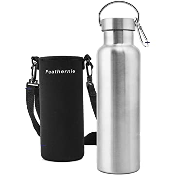 Stainless Steel Bottle with Wide Mouth 100% Leak Proof, BPA Free Reflect Double Wall Vacuum with Water Bottle Pouch, Cleaning Brushe and Carabiner Perfect for Sport & Traveling