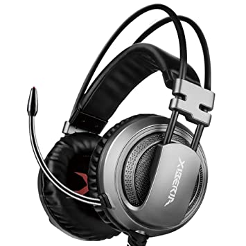 XIBERIA V10 Auriculares Gaming USB de Sonido Envolvente Cascos Gamer con Microfono para PC (Grey