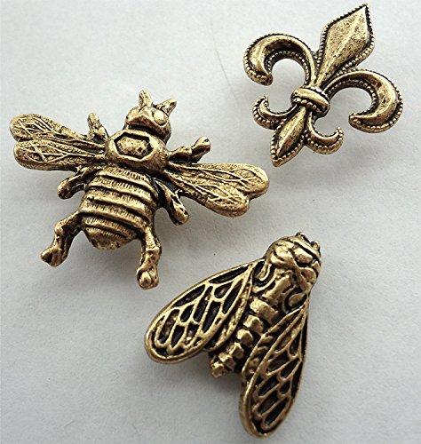15 large Antique Gold Decorative BEES & FLEUR de LIS Push Pins T-135AG ()