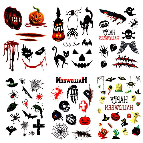 SMILCO 6Pcs Funny Horror Temporary Tattoos - Scar Halloween Halloween Tattoos Bleeding Wound Skeleton Cat Pumpkin Spider Ghost (Cat Halloween Face Makeup)