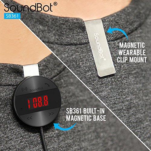 SoundBot SB361 FM RADIO Wireless Transmitter Receiver Adapter Universal Car Kit Music Streaming & Hands-Free Talking Dongle 3 Port USB Car Charger Bundle + Magnetic Mount by Soundbot (Image #6)