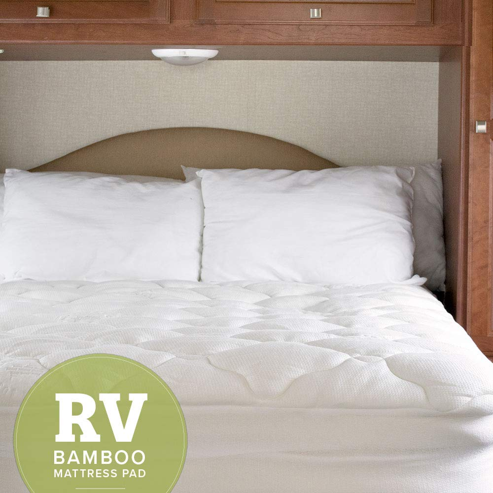 eLuxurySupply RV Mattress Pad - Extra Plush Bamboo Topper with Fitted Skirt - Made in The USA - Hypoallergenic - Mattress Cover for RV, Camper - Short Queen