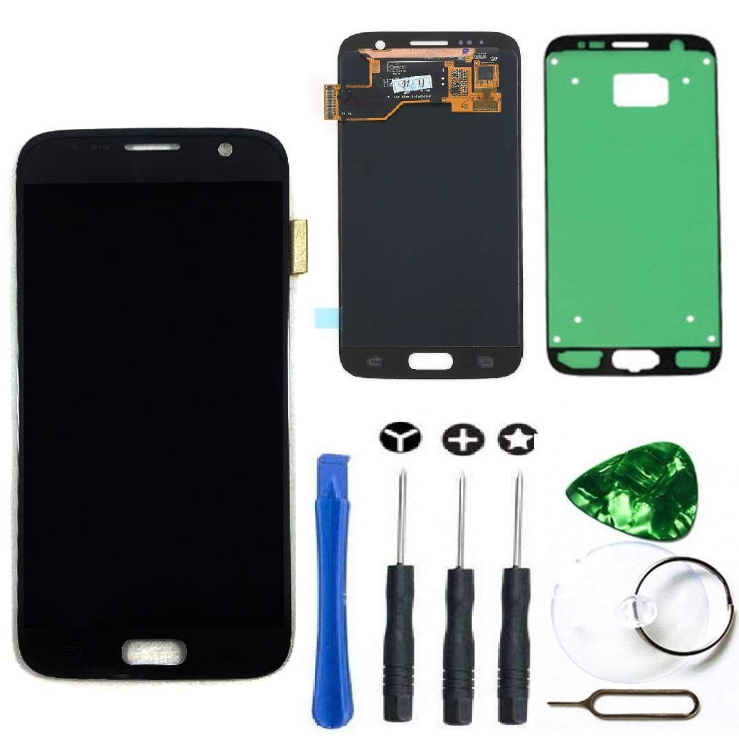 LCD Display Touch Screen Digitizer Assembly Replacement [Adhesive Sticker] [Repair Tool Kit] for Samsung Galaxy S7 SM-G930 G930A G930F G930R4 G930P G930T G930V G930W8 (Black)