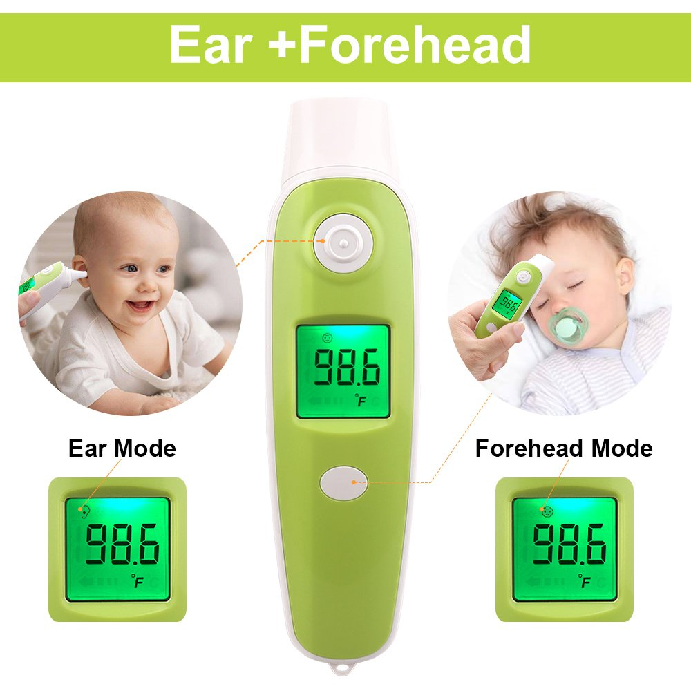 BuySevenSide Ear Thermometer with Forehead Function,Digital Laser Infrared Thermometer Temperature Gun Instant Read Accuracy Professional Temperature for Children and Adults with Fever Indicator by BuySevenSide (Image #2)
